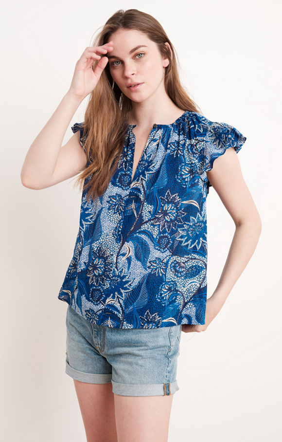 Yuelle Printed Flutter Sleeve Top