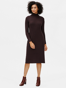 Merino Wool Scrunch Neck Dress