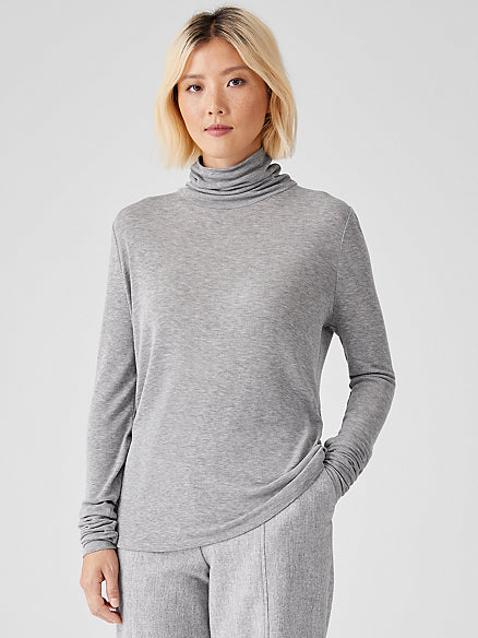 Lightweight Rib Scrunchneck Slim Top