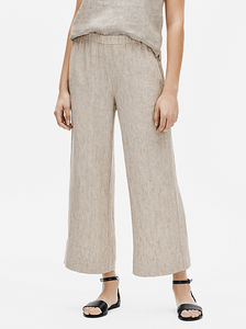 Washed Organic Linen Delave Wide Ankle Pant