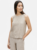 Washed Organic Linen Delave Round Neck Shell