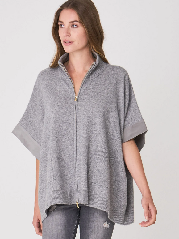 Cashmere and Suede Zip Poncho