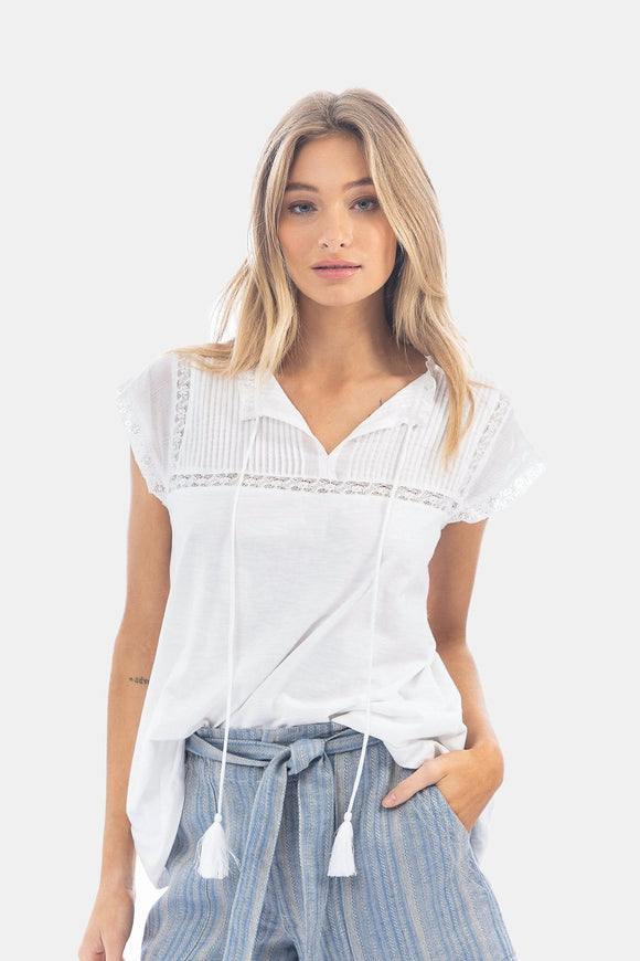 Short Sleeve Flutter Sleeve Lace Top