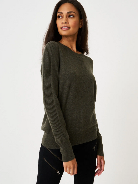 Cashmere Sweater with Rib Knit Details