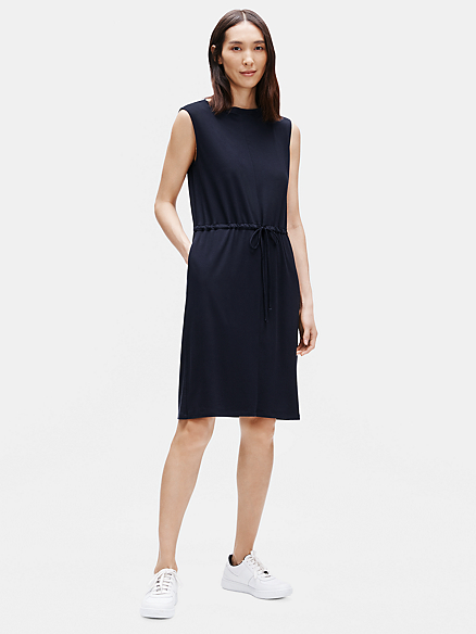 Fine Tencel Jersey Bateau Neck Dress w/ Pockets