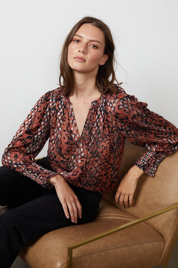 Metallic Flora Blouse