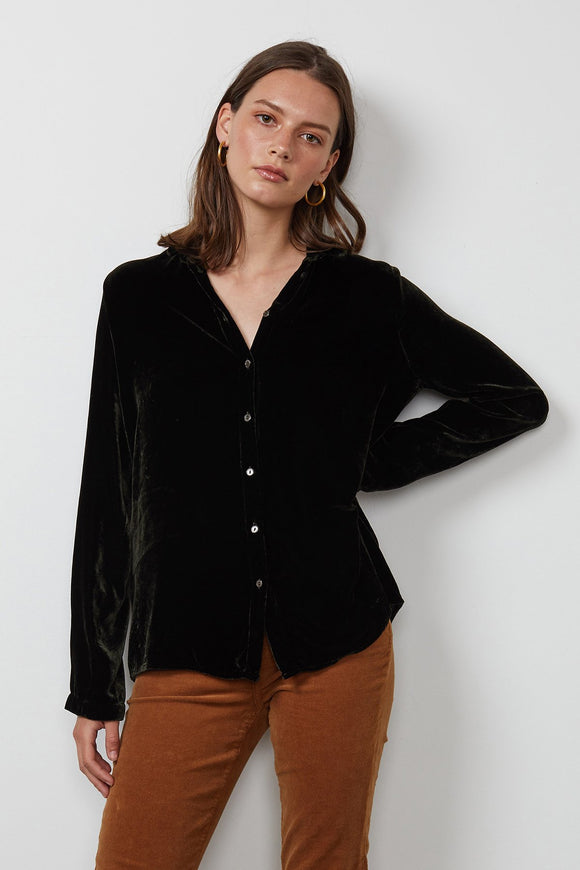 Jensine Silk Velvet Button Up