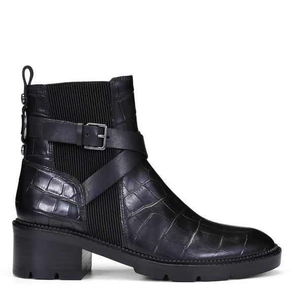 Croco Two Tone Buckle Boot