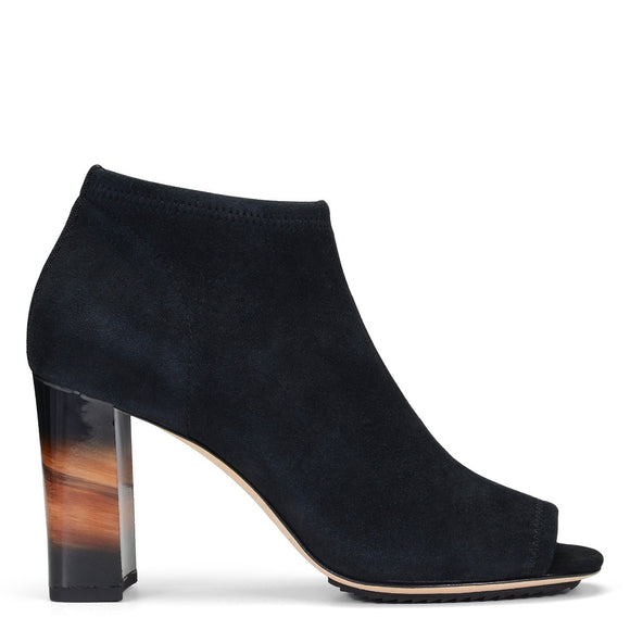 Stretch Suede Open Toe Shootie