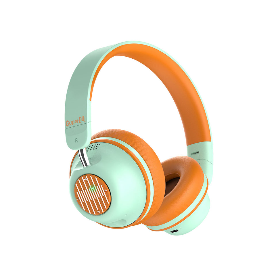 SuperEQ S2 Casque Bluetooth ANC On Ear (OrangeVert)