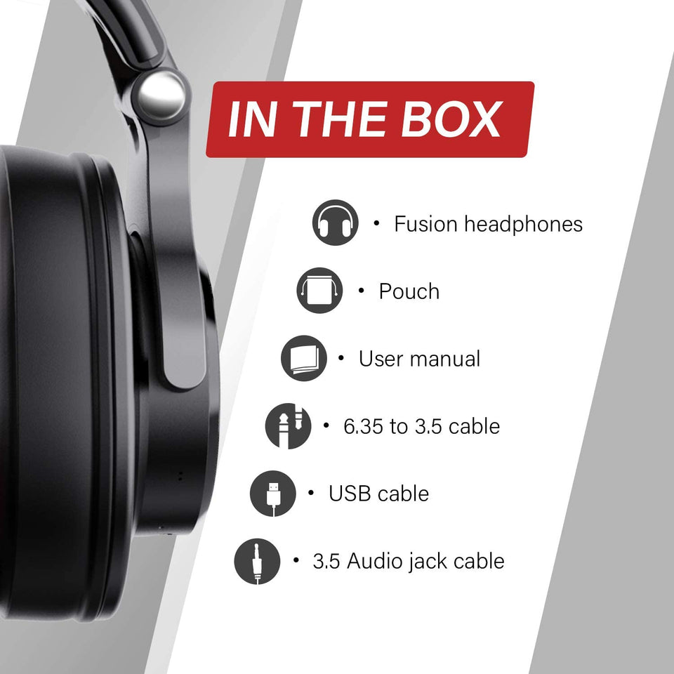 OneOdio Over Ear Headphones, Studio DJ Headphones, HiFi Wired Headset 50mm Driver, Foldable Lightweight Headphones Shareport Mic Recording Monitoring Podcast PC TV Sony/JBL/Beats/Sennheiser/AKG/Bose/DOQAUS Black Friday