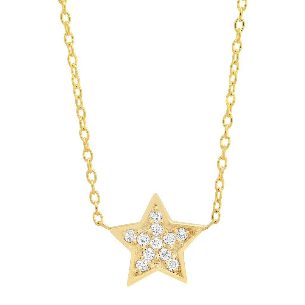 14K YELLOW GOLD DIAMOND STAR NECKLACE .18CT