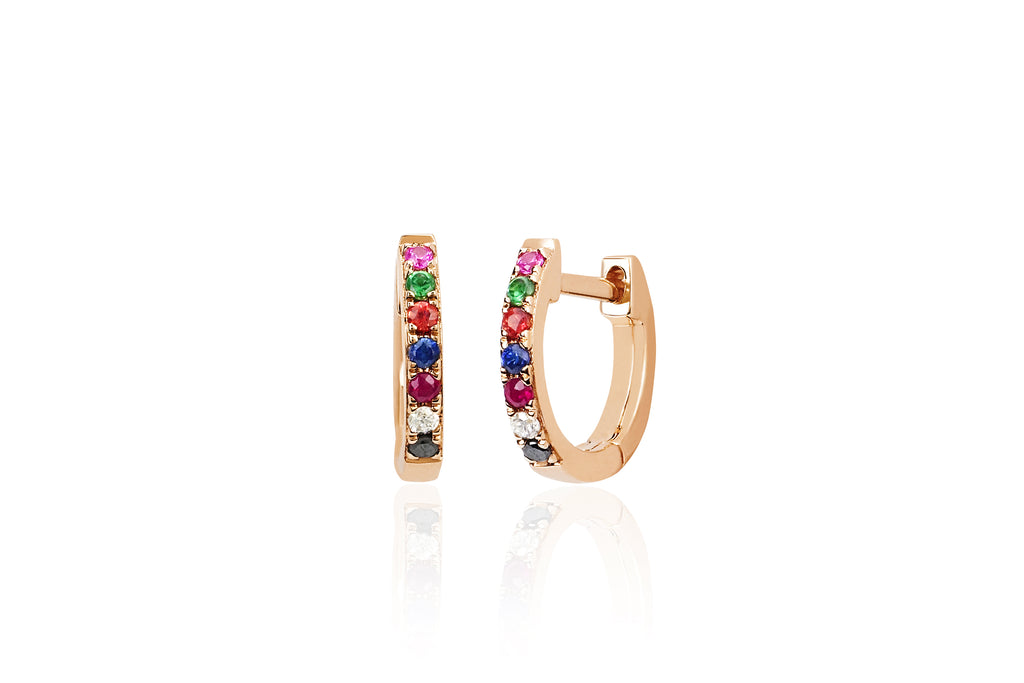 14K RAINBOW MINI HUGGIE EARRING