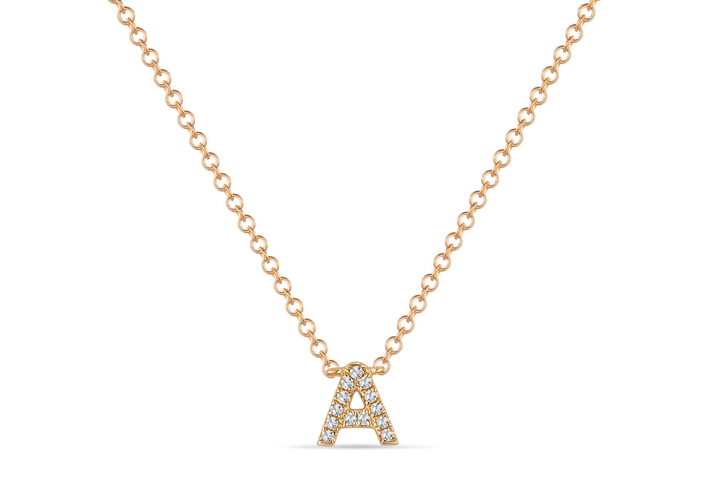 14K DIAMOND INITIAL 'A' NECKLACE