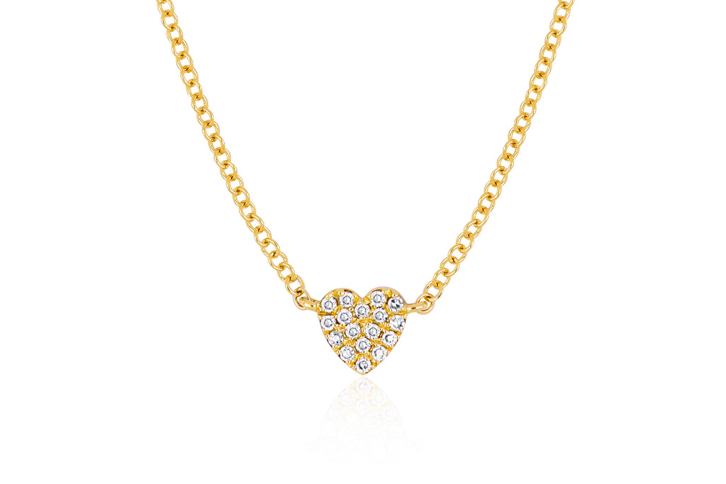 14K YG DIAMOND SINGLE MINI HEART NECKLACE