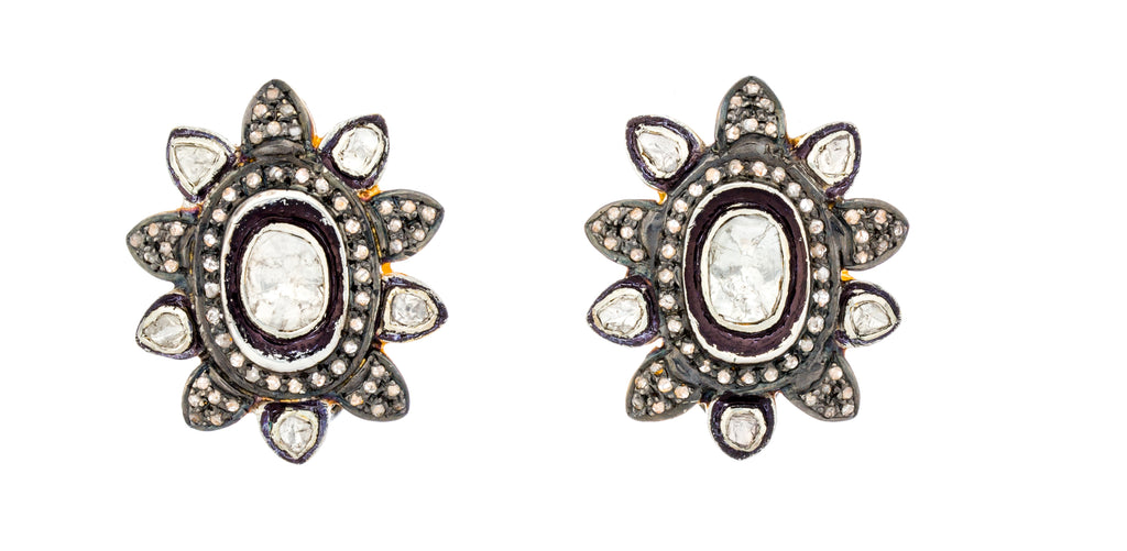 PADME EARRINGS - DIAMOND STUD EARRINGS W/ CLIP