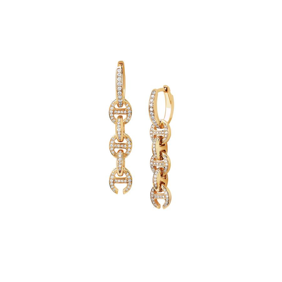 18K YELLOW GOLD- FIVE LINK PAVE DROP EARRINGS