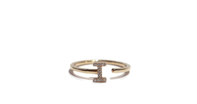 "14K YELLOW GOLD SINGLE INITAL ""I""  RING 0.04CT"