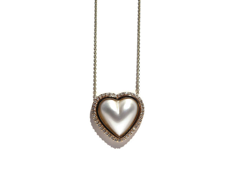 14K YELLOW GOLD AND PEARL HEART NECKALCE WITH SURROUNDING DIAMONDS