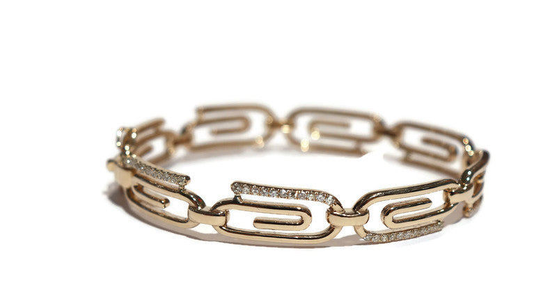 14K YELLOW GOLD SOLID PAPERCLIP HINGED DIAMOND BANGLE