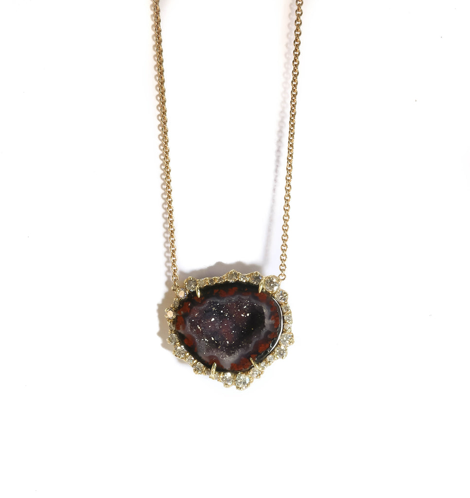 18K YELLOW GOLD DEEP RED GEODE IRREGULAR DIAMOND PENDANT