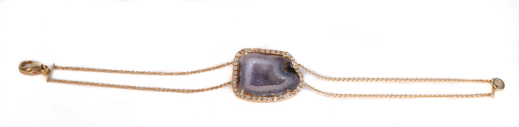 18K YELLOW GOLD  LIGHT GEODE AND DIAMOND DOUBLE CHAIN BRACELET