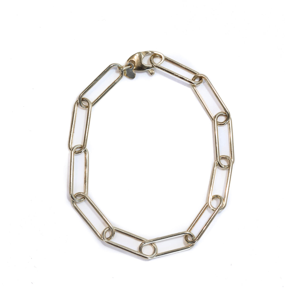 14K YELLOW GOLD RECTANGLE LINK CHARM BRACELET