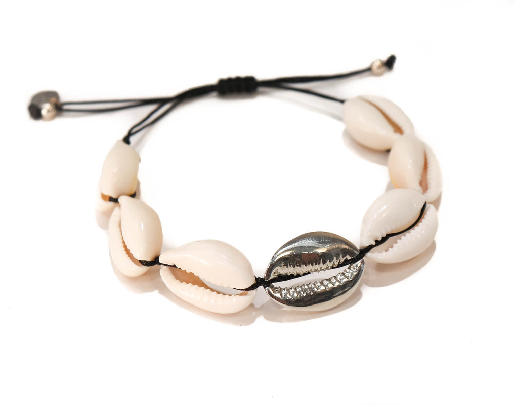 WHITE SHELL WITH ONE SILVER PLATED SHELL BRACELET