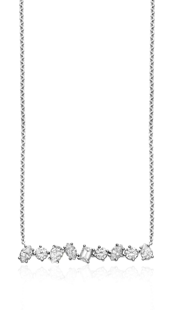 18K WHITE GOLD IRREGULAR DIAMOND BAR PENDANT