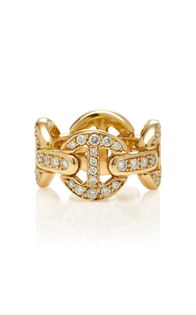 18K YELLOW GOLD QUAD-LINK WHITE DIAMONDS ANTIQUATED RING