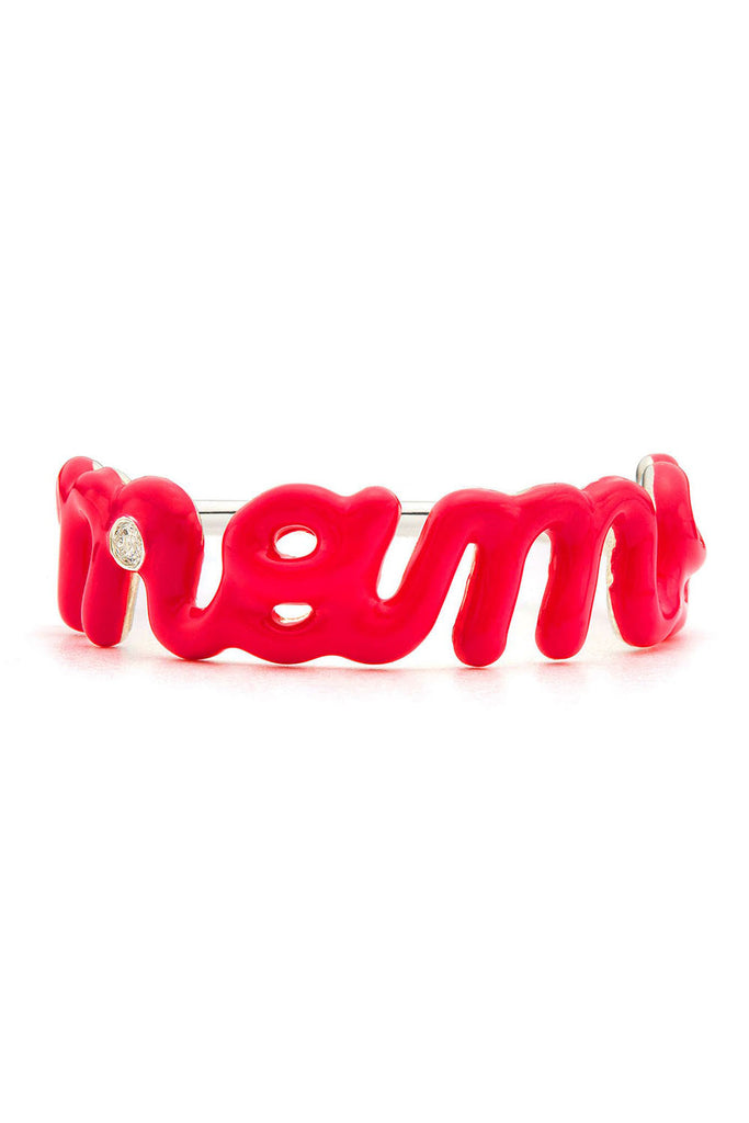 STERLING SILVER MAMA SCRIPT RING WITH RED ENAMEL