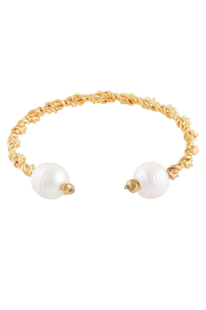 GOLD PLATED TWISTED BANGLE WITH PEARLS