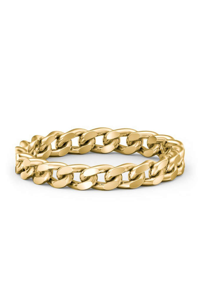 XL HAVANA CHAIN RING - 14K YG CURB CHAIN RING