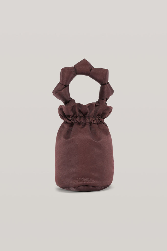 KNOTTED TOP HANDLE BUCKET BAG - COFFEE