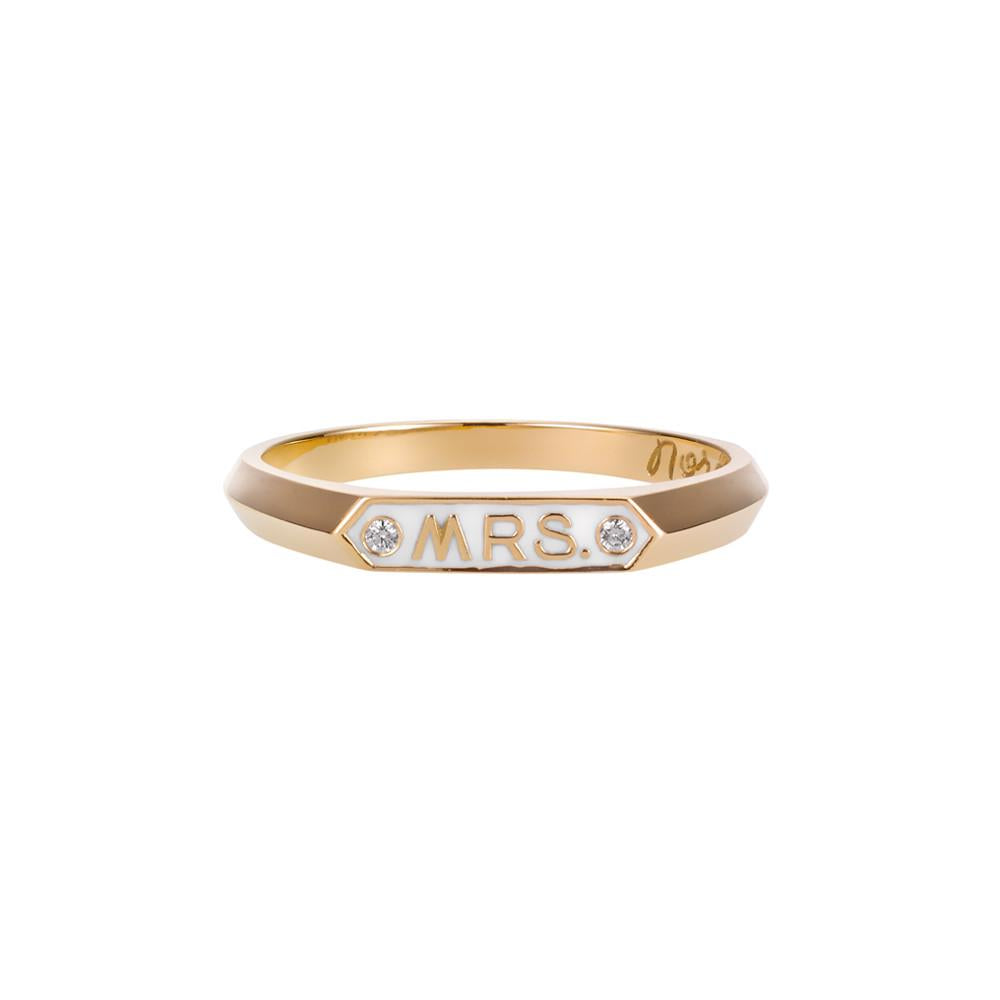 14K YELLOW GOLD WITH WHITE ENAMEL AND TWO DIAMONDS - MRS SIGNET RING