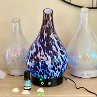 Dalmation Jumbo Hand blown glass oil diffuser   250ml capacity  Colour change / auto turn off function  Run time approx 8 hours. Wild Violet Studio Holistic Home Fragrance Wagga Wagga Australia