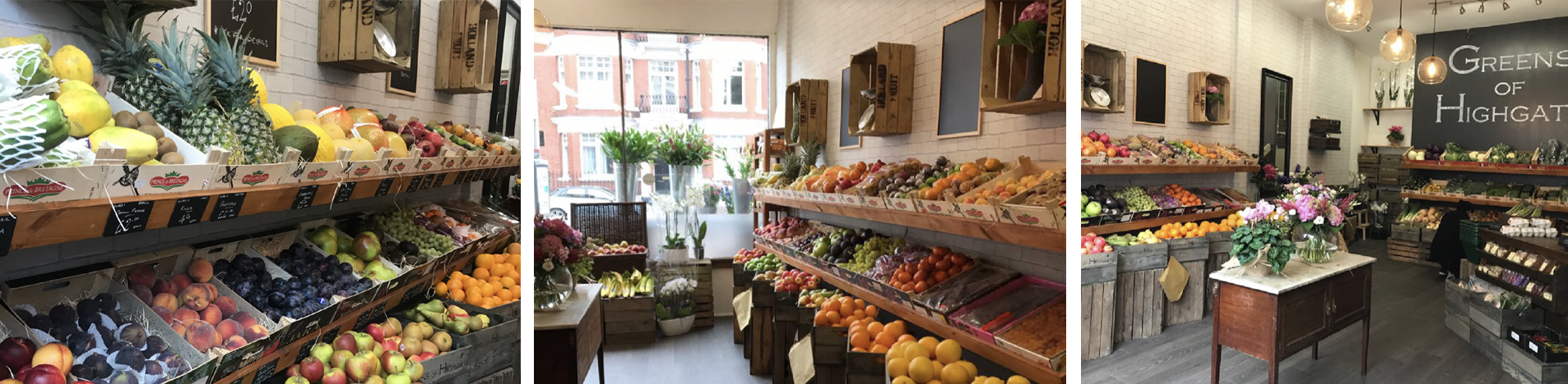 Inside the shop at Greens of Highgate, greengrocers and florists.