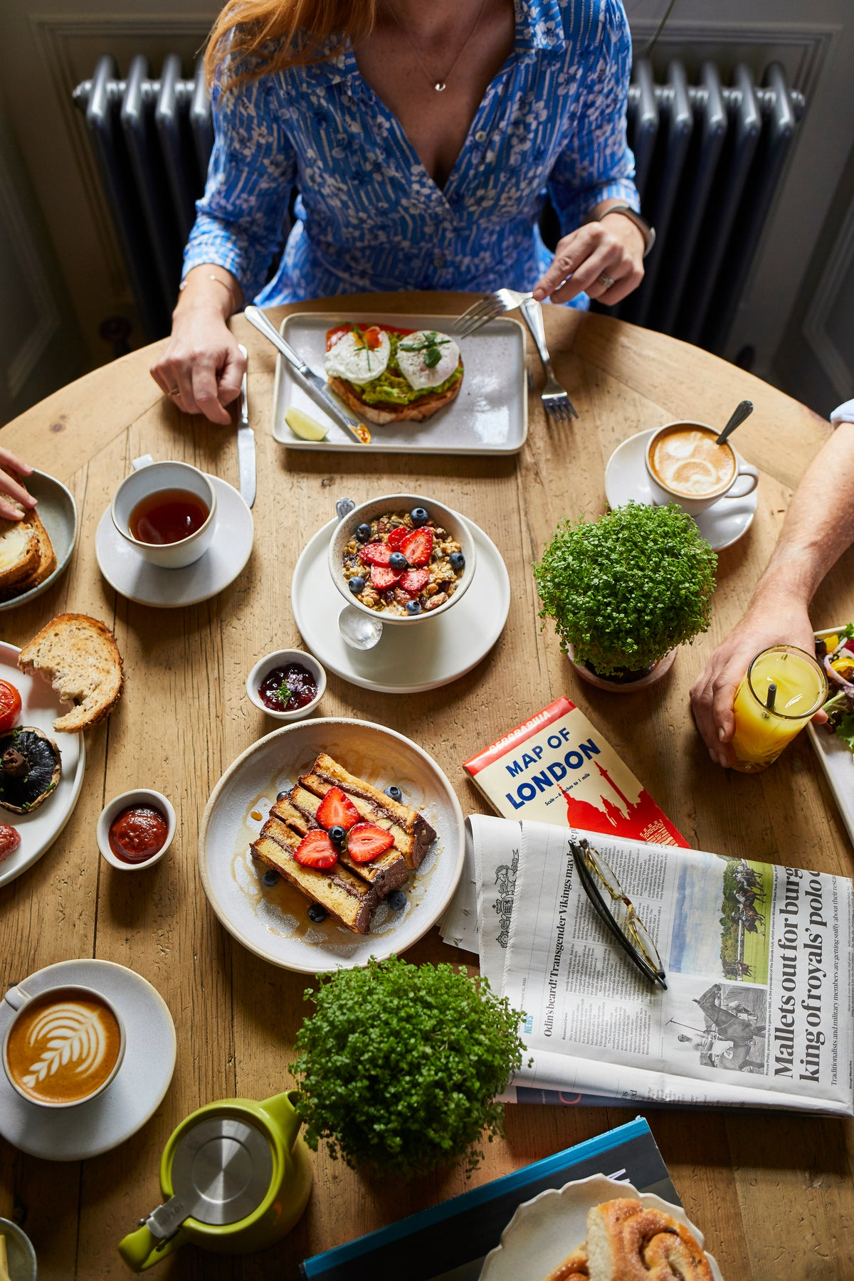 Lime Tree Hotel, London, UK - The Buttery breakfast spread with toast, granola, coffee, tea, and newspaper