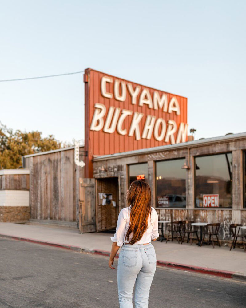 Cuyama Buckhorn, Cuyama - hotel exterior with large hotel light sign on rusted metal with a woman standing
