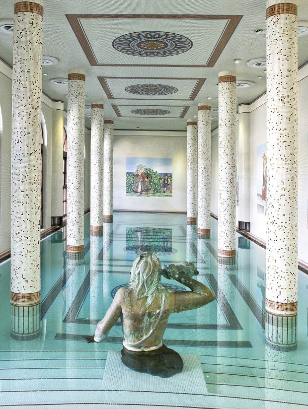 Terme Manzi Hotel & Spa, Ischia - hotel spa in Roman bathhouse style with stone columns and tile mosaics and a bronze woman statue