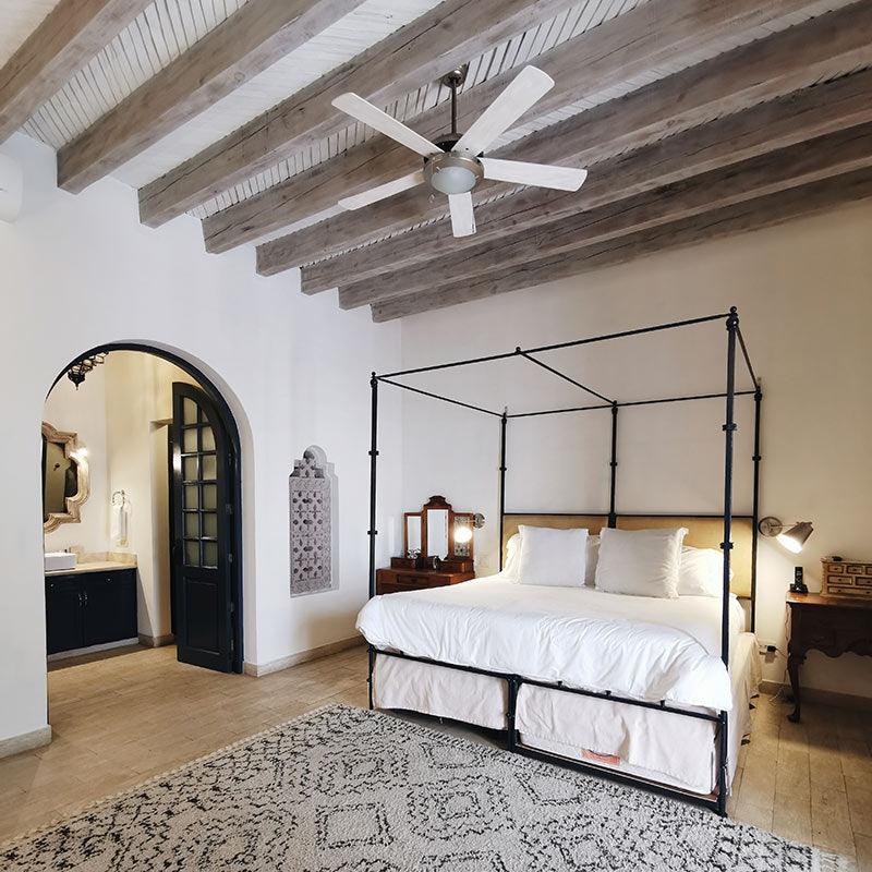 Casa Delphine, San Miguel de Allende - minimalist hotel room with wooden beam ceiling and canopy bed