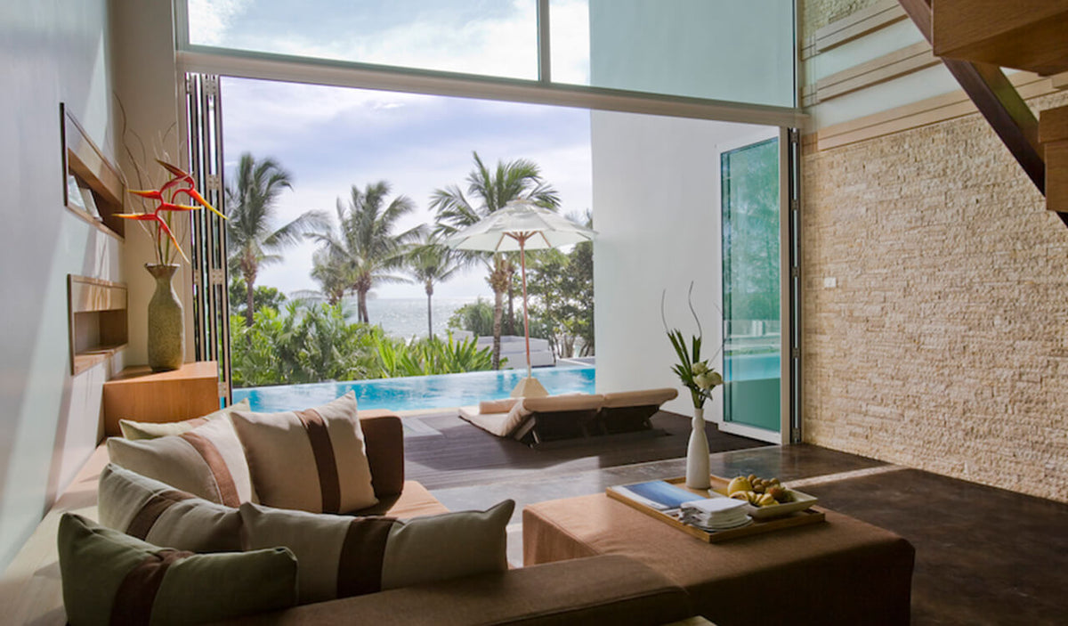 Aleenta Phuket Resort & Spa, Phuket - villa view with couch, sliding doors, private patio, private pool, and daytime beach view