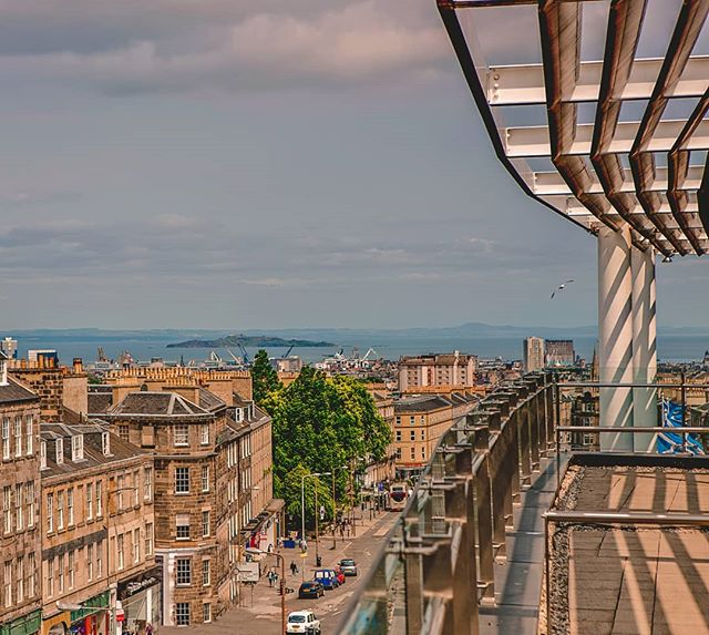 The Glasshouse, Edinburgh - hotel roof lounge with view of city and the North Sea