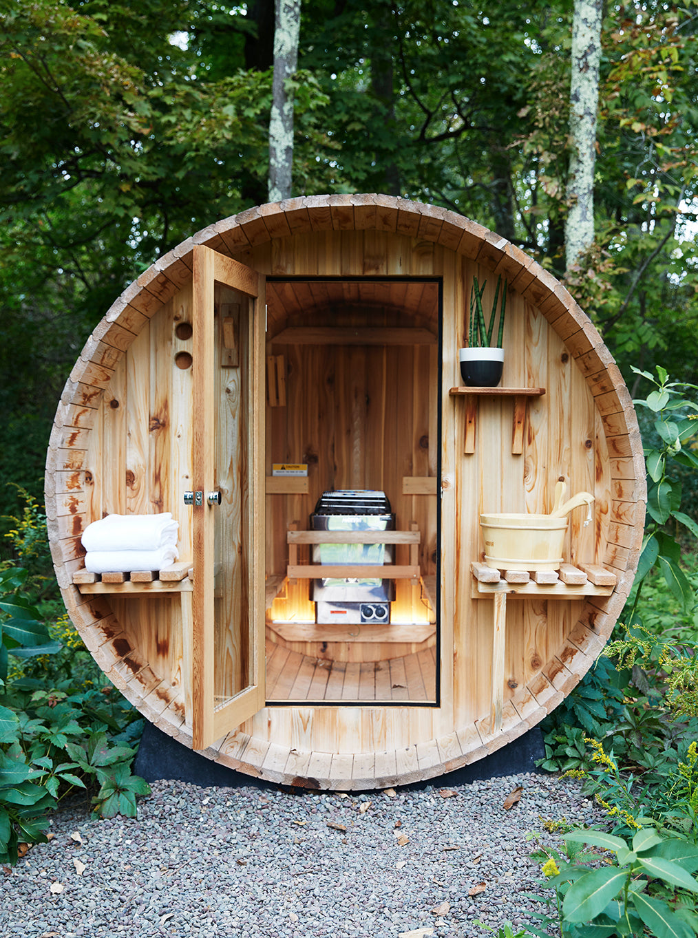 Eastwind Hotel & Bar, NY - circular natural wood structure with a door leading to a sauna