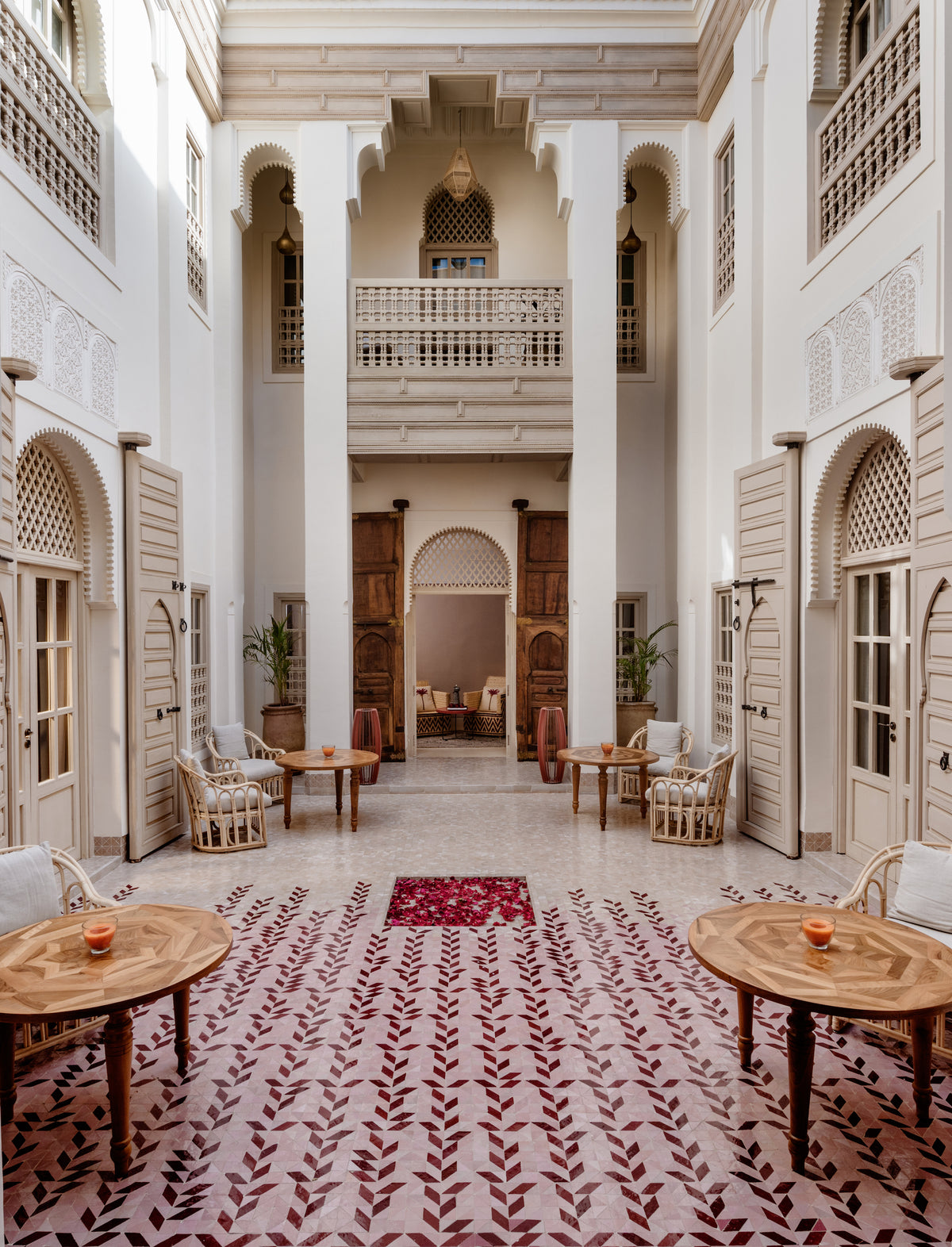72 Riad, Marrakech, Morocco - Moroccan style hotel lobby with arches and white walls