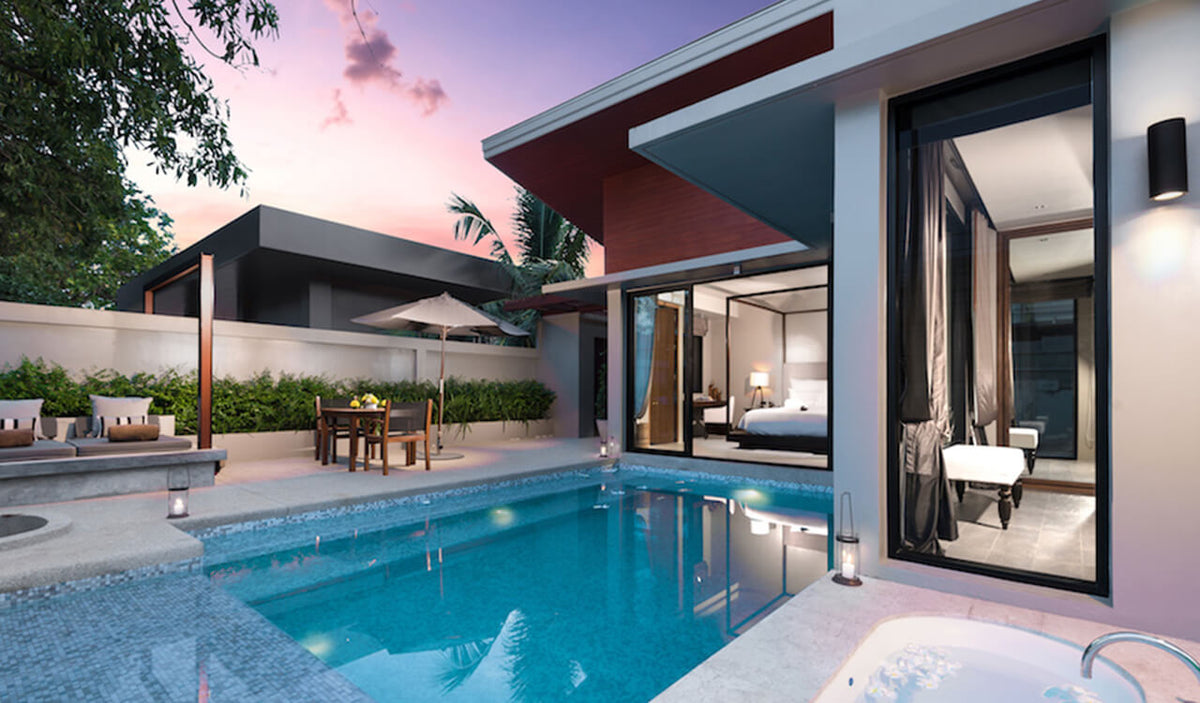 Aleenta Phuket Resort & Spa, Phuket - villa patio with lounge couch, private pool, jacuzzi tub, and sliding doors leading to bedroom