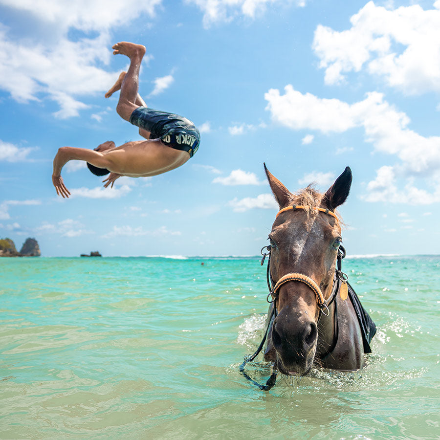 Nihi Sumba, Sumba Island- man doing a back flip off of a horse into the ocean while the horse stands in the water