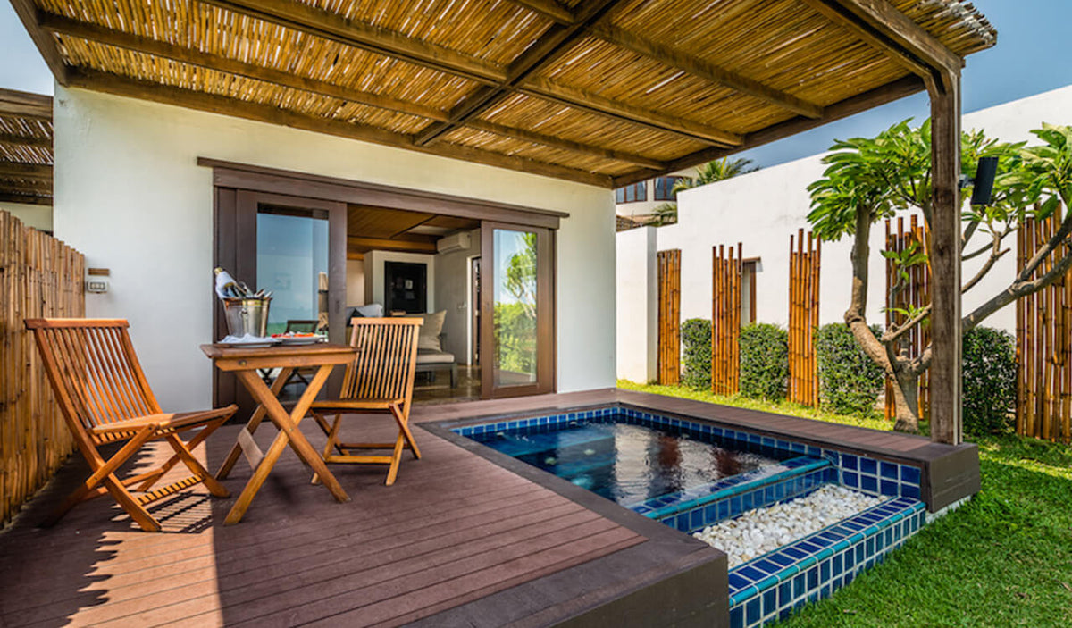 Aleenta Hua Hin Resort & Spa, Pranburi - Palm Pool Residence patio with chairs, table, and private plunge pool