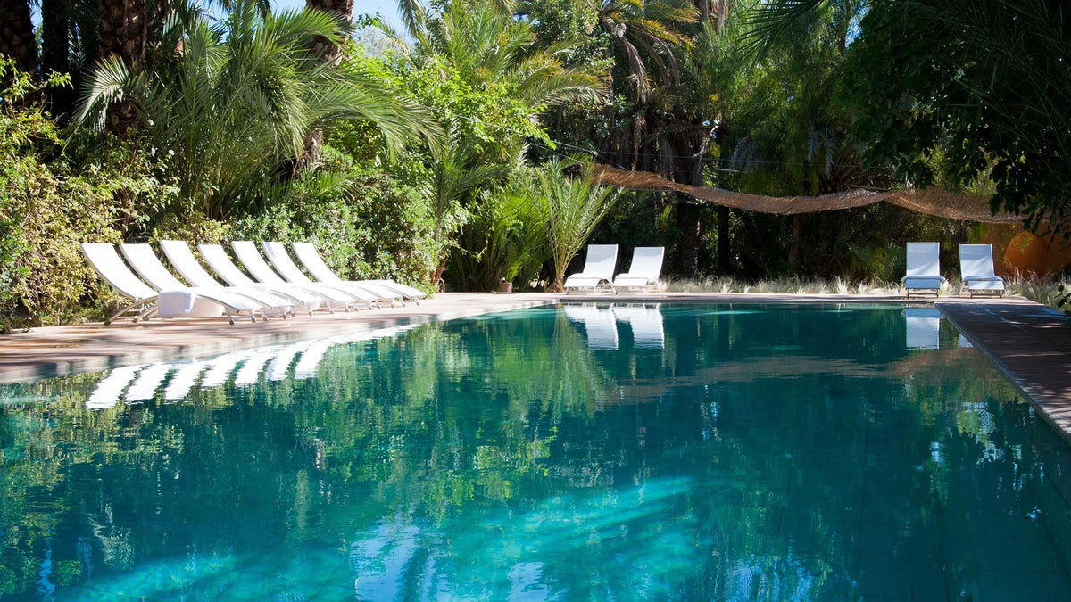 Jnane Tamsna, Marrakech - calm pool with white lounge chairs and jungle greenery
