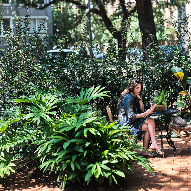 The Columns Hotel, New Orleans - woman sitting at a table outside in a garden